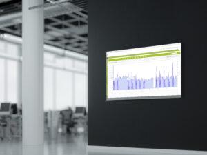 Modernes Digital Signage Mockup mit enerchart-Diagramm
